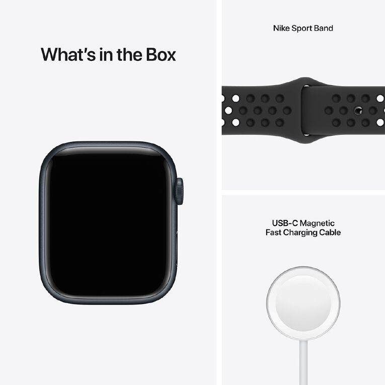 Apple Watch Nike Series 7 Cellular, 45mm Midnight Aluminium Case with Anthracite/Black Nike Sport Band - Regular, , hi-res