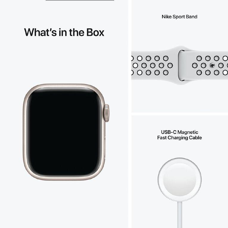Apple Watch Nike Series 7 GPS, 41mm Starlight Aluminium Case with Pure Platinum/Black Nike Sport Band - Regular, , hi-res