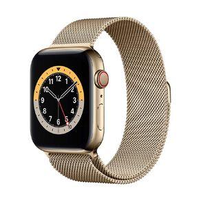 Apple Watch S6 CEL, 44mm Gold SS Case w Gold Milanese Loop