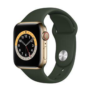 Apple Watch S6 CEL, 40mm Gold SS Case w Cyprus Green Sport Bd - Rglr