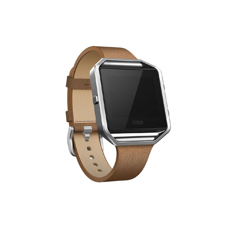 Fitbit Blaze Accessory Tapered Leather Band, Camel Large, , hi-res