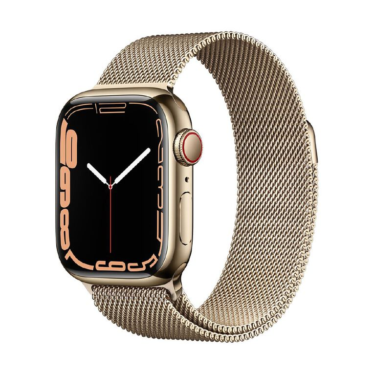Apple Watch Series 7 Cellular, 41mm Gold Stainless Steel Case with Gold Milanese Loop, , hi-res