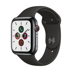 Apple Watch S5 GPS+LTE,44mm Space Black Stainless Steel Case w Black Sport Band - S/M & M/L