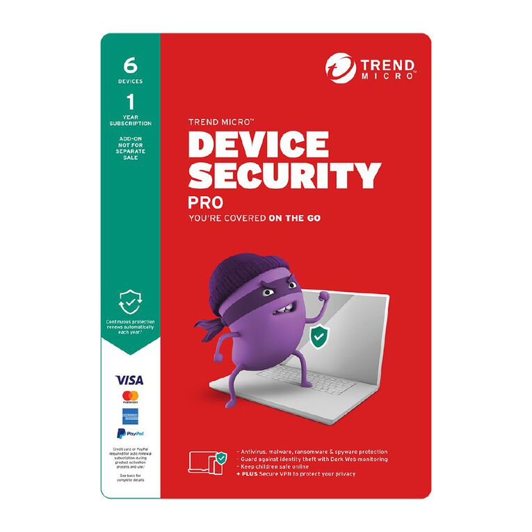 Trend Micro Device Security Pro 6 Device 1 Year Subscription, , hi-res
