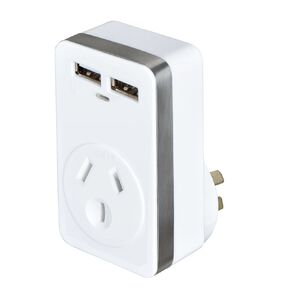 Endeavour Plug-Through Dual USB Wall Charger with Surge Protection