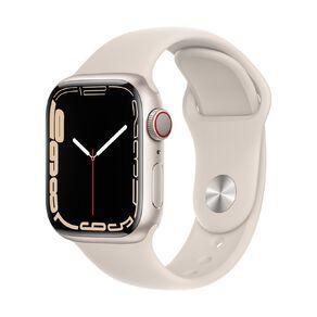 Apple Watch Series 7 Cellular, 41mm Starlight Aluminium Case with Starlight Sport Band - Regular