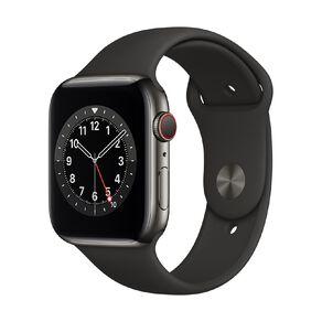 Apple Watch S6 CEL, 44mm Graphite SS Case w Black Sport Bd - Rglr