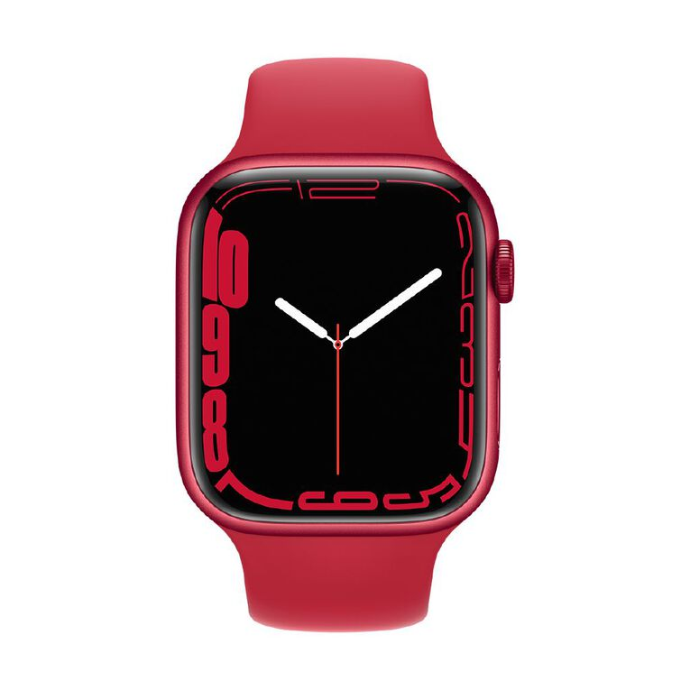 Apple Watch Series 7 GPS, 45mm (PRODUCT)RED Aluminium Case with (PRODUCT)RED Sport Band - Regular, , hi-res