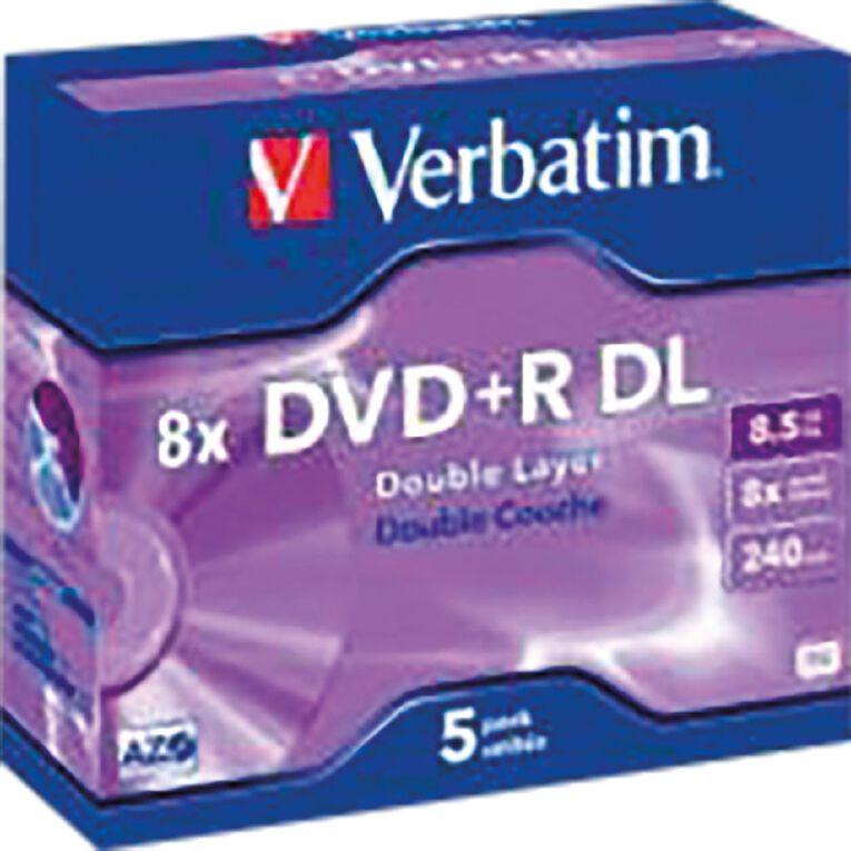 Verbatim DVD+R DL 8x 8.5GB 5 Pack Jewel Case, , hi-res