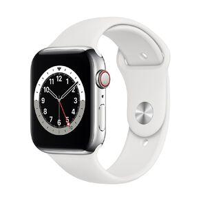Apple Watch S6 CEL, 44mm Silver SS Case w White Sport Bd - Rglr