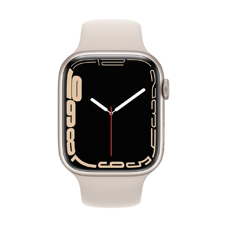 Apple Watch Series 7 GPS, 45mm Starlight Aluminium Case with Starlight Sport Band - Regular, , hi-res