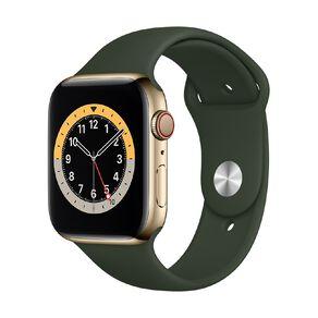 Apple Watch S6 CEL, 44mm Gold SS Case w Cyprus Green Sport Bd - Rglr