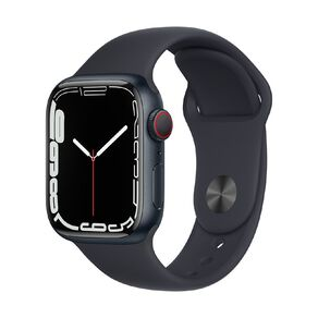 Apple Watch Series 7 Cellular, 41mm Midnight Aluminium Case with Midnight Sport Band - Regular