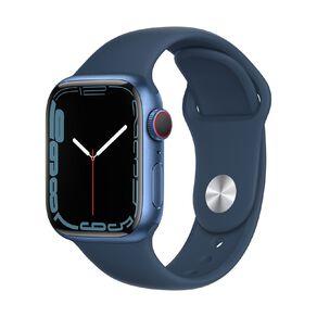 Apple Watch Series 7 Cellular, 41mm Blue Aluminium Case with Abyss Blue Sport Band - Regular