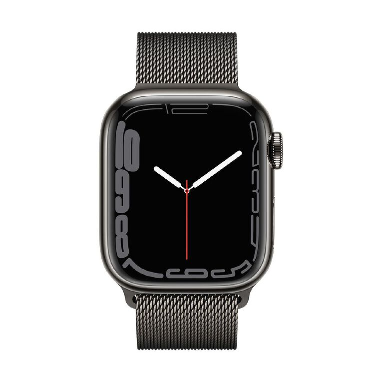 Apple Watch Series 7 Cellular, 41mm Graphite Stainless Steel Case with Graphite Milanese Loop, , hi-res