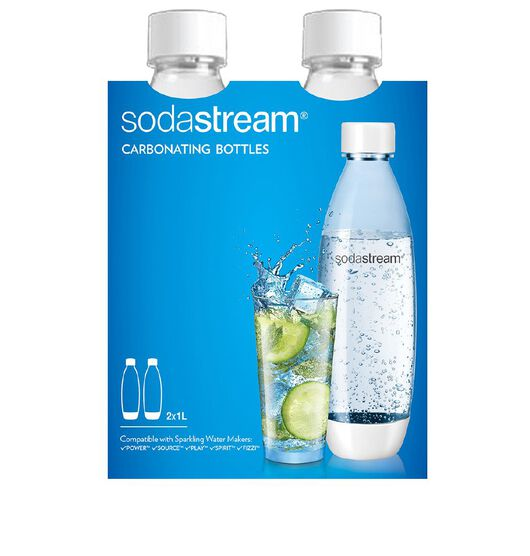 Sodastream 1L Fuse White Carb Bottles Twin Pack