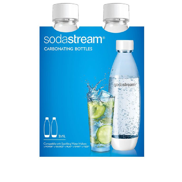 Sodastream 1 Litre Fuse White Carb Bottles Twin Pack, , hi-res