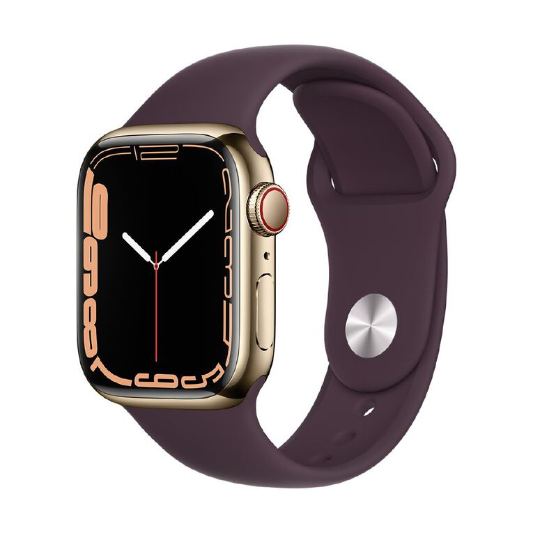 Apple Watch Series 7 Cellular, 41mm Gold Stainless Steel Case with Dark Cherry Sport Band - Regular, , hi-res