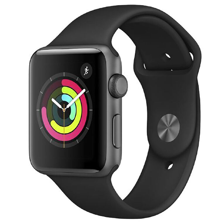 Apple Watch Series 3 GPS, 42mm Space Grey Aluminium Case with Grey Sport Band, , hi-res