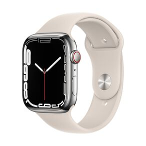 Apple Watch Series 7 Cellular, 45mm Silver Stainless Steel Case with Starlight Sport Band - Regular