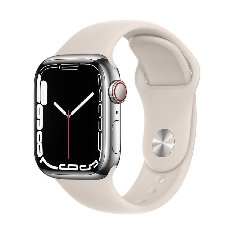 Apple Watch Series 7 Cellular, 41mm Silver Stainless Steel Case with Starlight Sport Band - Regular, , hi-res