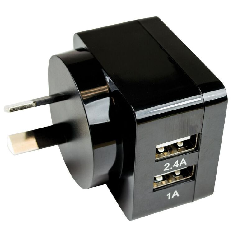 Endeavour Dual USB to Wall Charger 3.4A Black, , hi-res