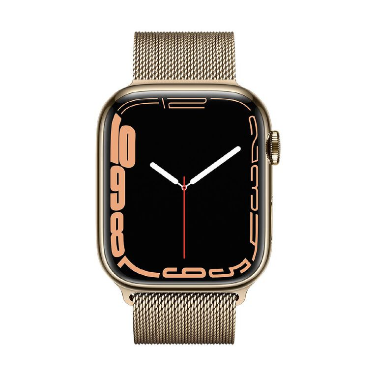 Apple Watch Series 7 Cellular, 45mm Gold Stainless Steel Case with Gold Milanese Loop, , hi-res