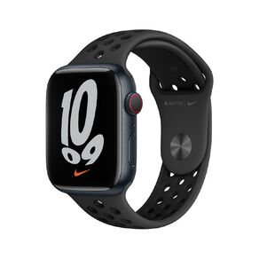 Apple Watch Nike Series 7 Cellular, 45mm Midnight Aluminium Case with Anthracite/Black Nike Sport Band - Regular