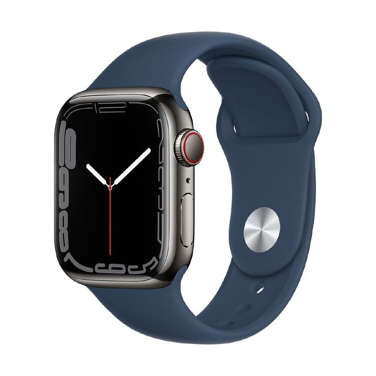 Apple Watch Series 7 Cellular, 41mm Graphite Stainless Steel Case with Abyss Blue Sport Band - Regular, , hi-res