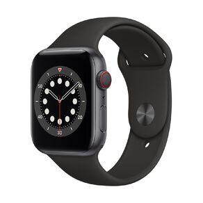 Apple Watch S6 CEL, 44mm Space Grey Alum Case w Black Sport Bd - Rglr