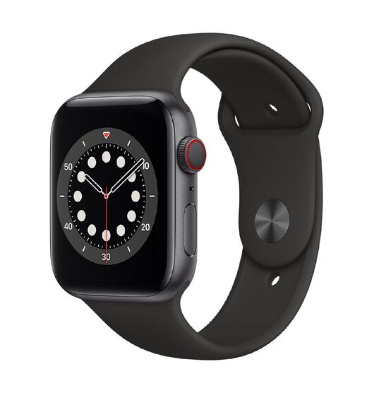 Apple Watch S6 CEL, 44mm Space Grey Alum Case w Black Sport Bd - Rglr